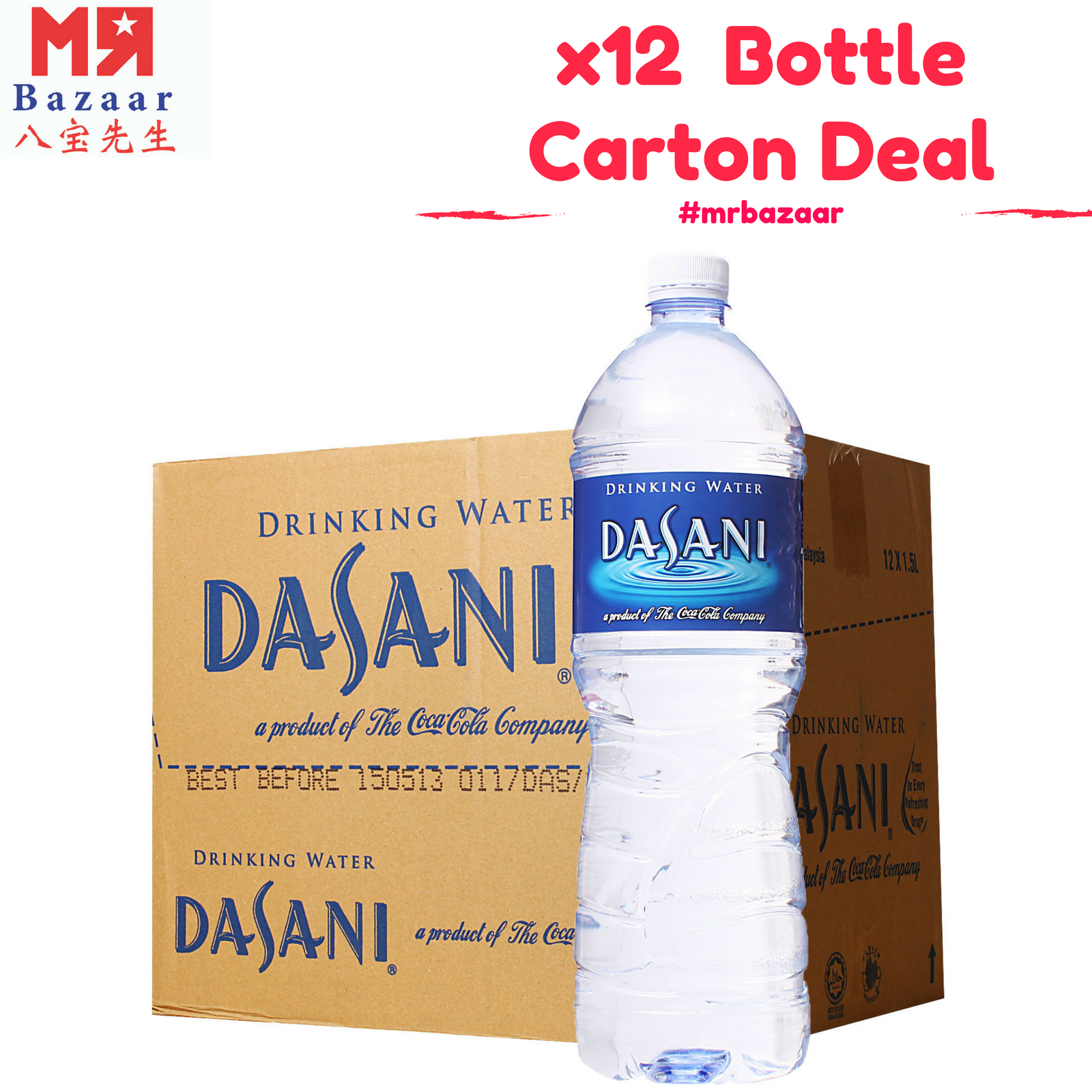 Dasani Pure Drinking Water (1.5 L) x 12 Bottles Carton Deal ('Mineral Water')