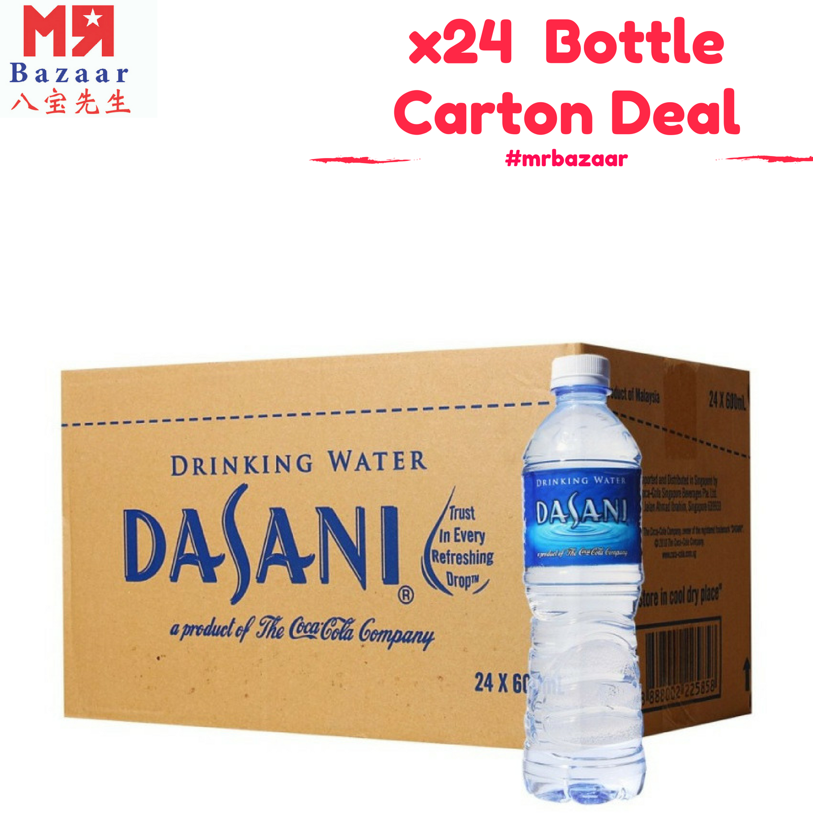 Dasani Pure Drinking Water (600ml) x 24 Bottles Carton Deal ('Mineral Water')