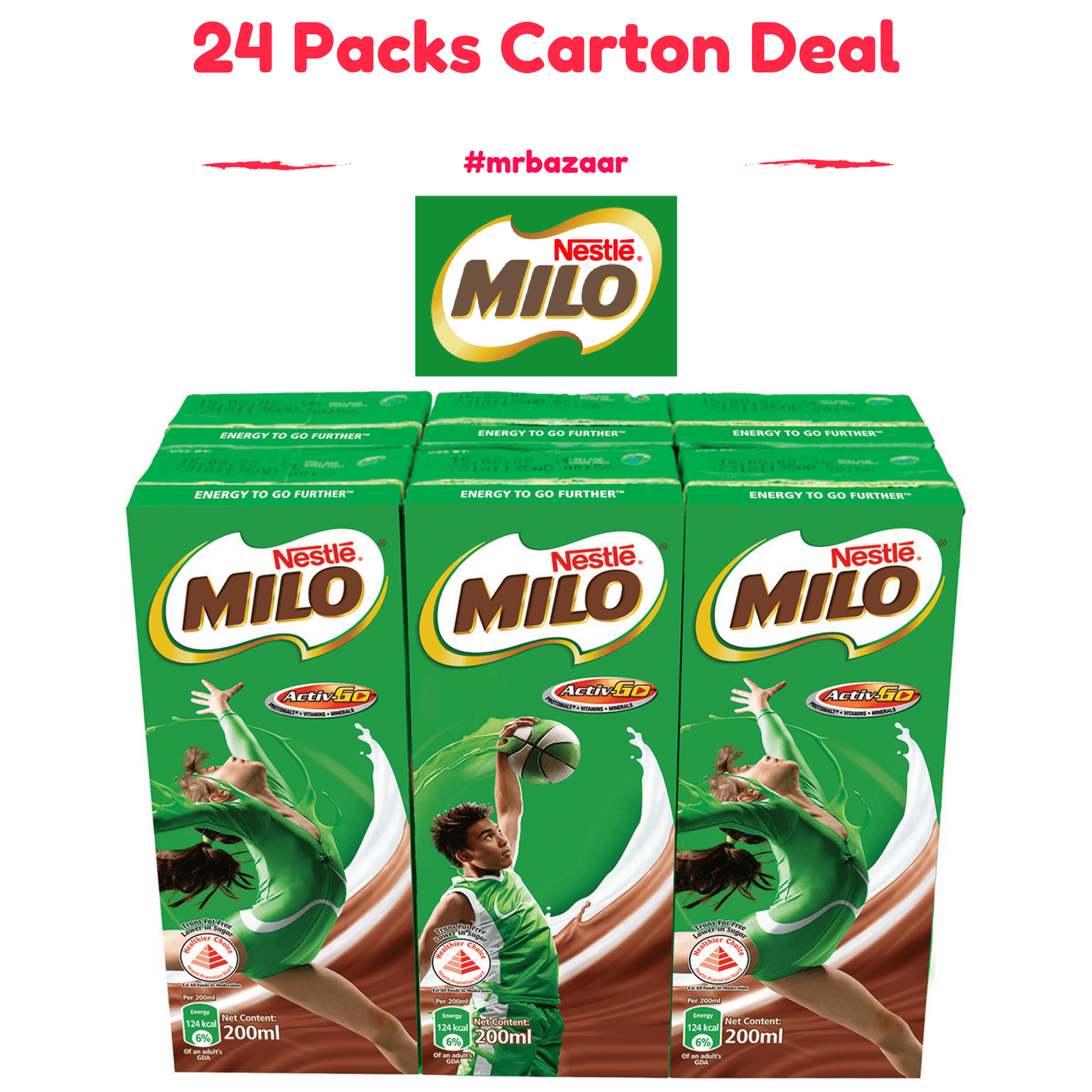 Nestle Milo UHT Chocolate Malt Packet Drink 24 Packs (200ml) Carton Deal